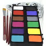 Face Paint Kit Kryvaline Professional 12 Large Square Colors for Split Cake DIY with One Stroke Flat brush Double Load Round Brushes and durable PET Stencils