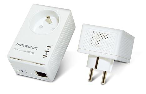 Metronic Duo Netsocket 500 Adaptateur CPL avec prise filtre intégrée 500 Mbps