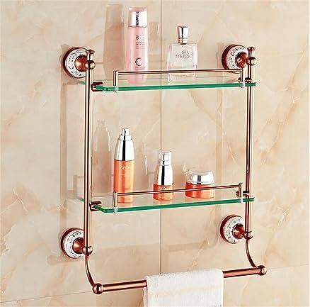 LHRain doppia cremagliera stoccaggio mensola del bagno ripiano in vetro bagno europeo in oro rosa scaffale ( dimensioni : 60cm )
