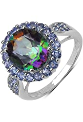 Genuine Oval Mystic Topaz and AA Grade Round Tanzanite Ring made of 925 Sterling Silver. Ring Size 7.75
