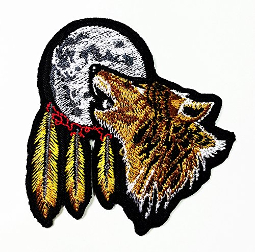 Indian Feather Full Moon Lone Wolf Fox Dog Wild Animal Choppers Lady Rider Biker Tatoo Jacket T-shirt Patch Sew Iron on Embroidered Sign Badge Costume Free Shipping to World Wide. New with High Quality for Your Cloth By Jupeter