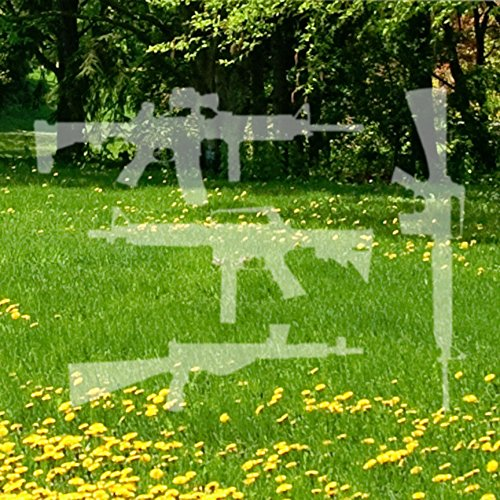 "Set Of 4 Assault Rifles - Vinyl Decal Sticker - 16"" x 12"" - Etched Glass"