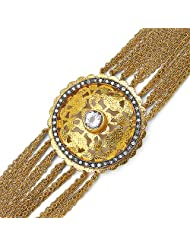 36.80 Grams Genuine White Topaz Gold Plated Brass Bracelet