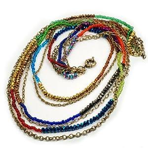 Crystal Bead Rainbow Long Layered Multi Strand Necklace