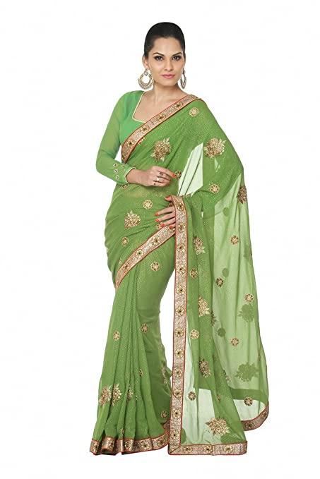 Oomph! Sap Green Shimmer Georgette Embroidered Designer Saree for women party wear   wedding marriage christmas new year and pongal available at Amazon for Rs.1495