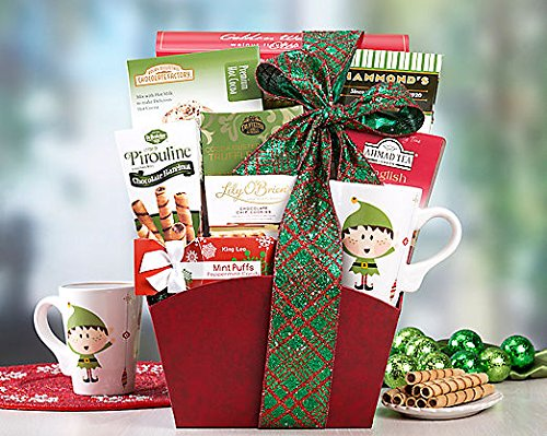 Gourmet Foods Gift Baskets, Christmas Cocoa, All The Ingredients Needed For A Sweet Cup Of Tea And A Steaming Cup Of Cocoa Are Included In This Item. The Treats Nestled In This Box Include Chocolate Hazelnut Wafer Cookies, Walnut Flavored Cookies, Peanut