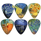 Vincent Van Gogh Guitar Picks - Celluloid Medium 12 Pack - Starry Night Sunflowers Cafe by Creanoso - Best Stocking Stuffer Gifts for Guitarist - Limited Time Deal