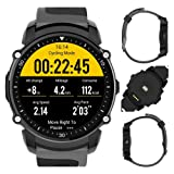 Kingwear FS08 Sports Patterns Smart Watch Android5.0 and IOS9.0,IP68 Waterproof Cycling Heart Rate Pressure Pedometer Monitoring a Variety GPS Information Reminder Professional Sports Watch (Black)