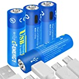 CT ENERGY AA Lithium Batteries Rechargeable 1.5V 1600mAh AA Battery with Micro USB 1.5Hrs Fast Charging Li-ion Double A Batteries (4Pack) (Tamaño: 1.5V 1600mAh USB Lithium AA (4PACK))