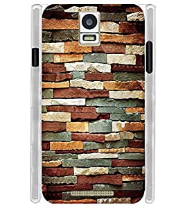 Rock Brown Wall Bricks Soft Silicon Rubberized Back Case Cover for Xolo Era