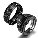 Gy Jewelry Couple Ring His Hers Women Black Gold Filled Cz Men Stainless Steel Bridal Sets Wedding Band (Color: Black)
