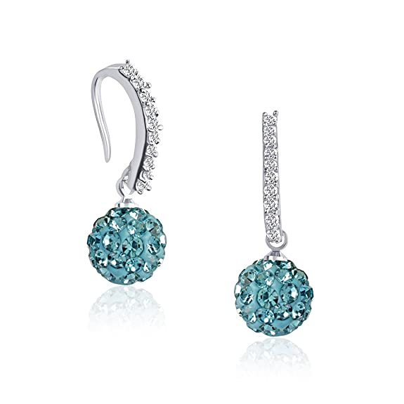 VK Jewels Claire Sky Blue Rhodium Plated Alloy Bali Earrings for Women & Girls made with Cubic Zirconia- BALI1020R [VKBALI1020R] at amazon