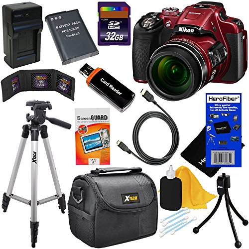 Nikon COOLPIX P610 16.1 MP CMOS Digital Camera with 60x Optical Zoom, Built-In Wi-Fi, GPS & Full HD 1080p Video - Red (Import) + EN-EL23 Battery & AC/DC Battery Charger + 10pc Bundle 32GB Deluxe Accessory Kit w/ HeroFiber® Ultra Gentle Cleaning Cloth