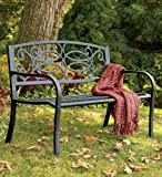 Lawn &amp; Patio - Corrosion-Resistant Tubular Steel Scrollwork Bench with Wrought Iron Back, in Antique Brown
