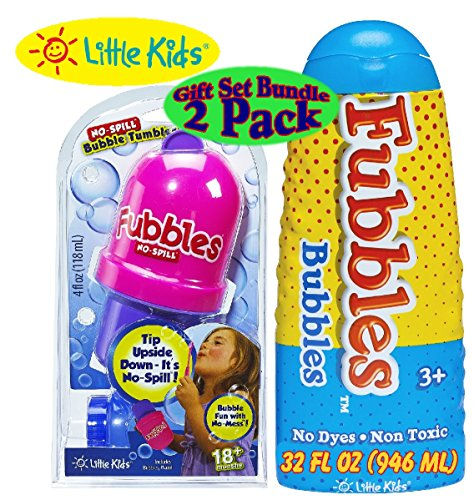 Little Kids Fubbles No-Spill Bubble Tumbler (Pink & Purple) & Fubbles Premium Bubbles Solution 32 Ounce Gift Set Bundle - 2 Pack little kids fubbles bubble wand party pack 6 pack yellow blue pink green orange purple