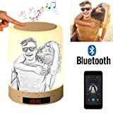 Custom Photo Bluetooth Speakers Touch Control Bedside Lamp Table Lamp Color LED Camping Party Night Light Music Player - Sketch Printing (Color: Sketch Printing, Tamaño: 3.5inch*3.5inch*4.7inch)