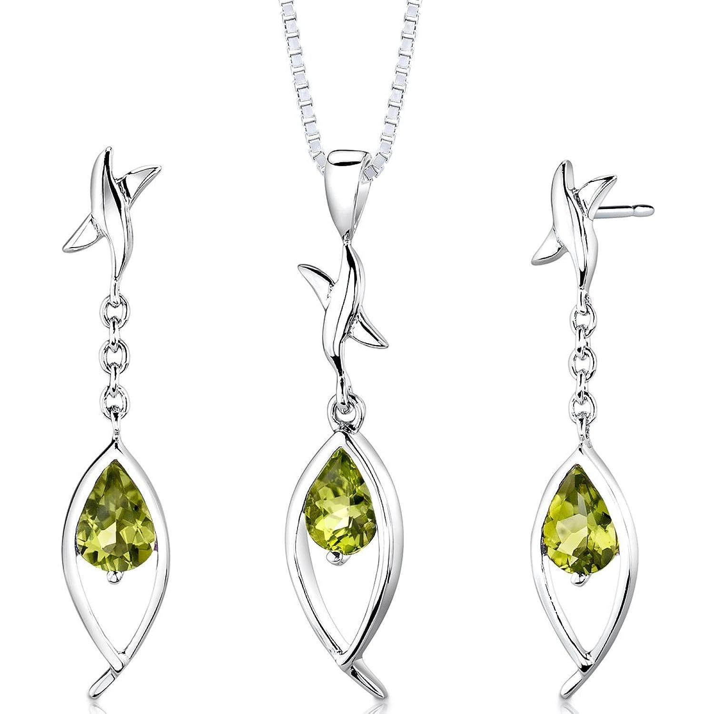 Revoni Damen Anhänger Ohrringe Schmuckset 925 Sterlingsilber Peridot -2.00 Karat mit Silber Halskette 46 cm online bestellen
