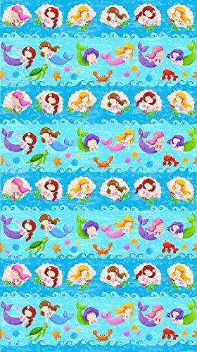 1 Yard Little Mermaids by Deborah Edwards from Northcott 100% Cotton Quilt Fabric 20634 44 Stripe