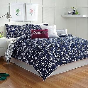 scatter dot polka dots navy blue white twin xl comforter set. Black Bedroom Furniture Sets. Home Design Ideas