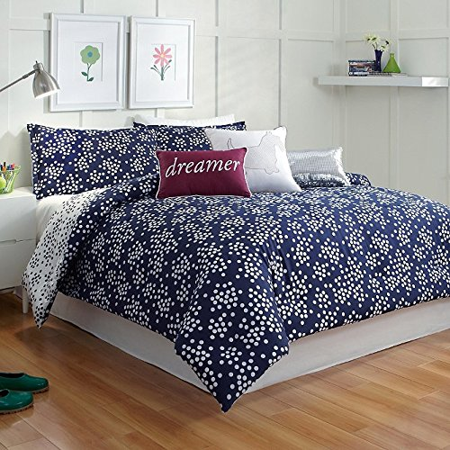 Scatter Dot Polka Dots Navy Blue White Twin Xl Comforter Set front-803049