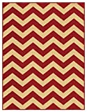 Rubber Backed 5 x 7 Rich Chevron Red & Beige Zig Zag Area Non-Slip Rug Rana Collection RAN2060 57
