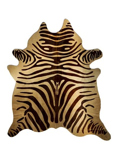 Natural Brand Togo Cowhide Rug, Zebra Chocolate/Natural, 6′ x 7′