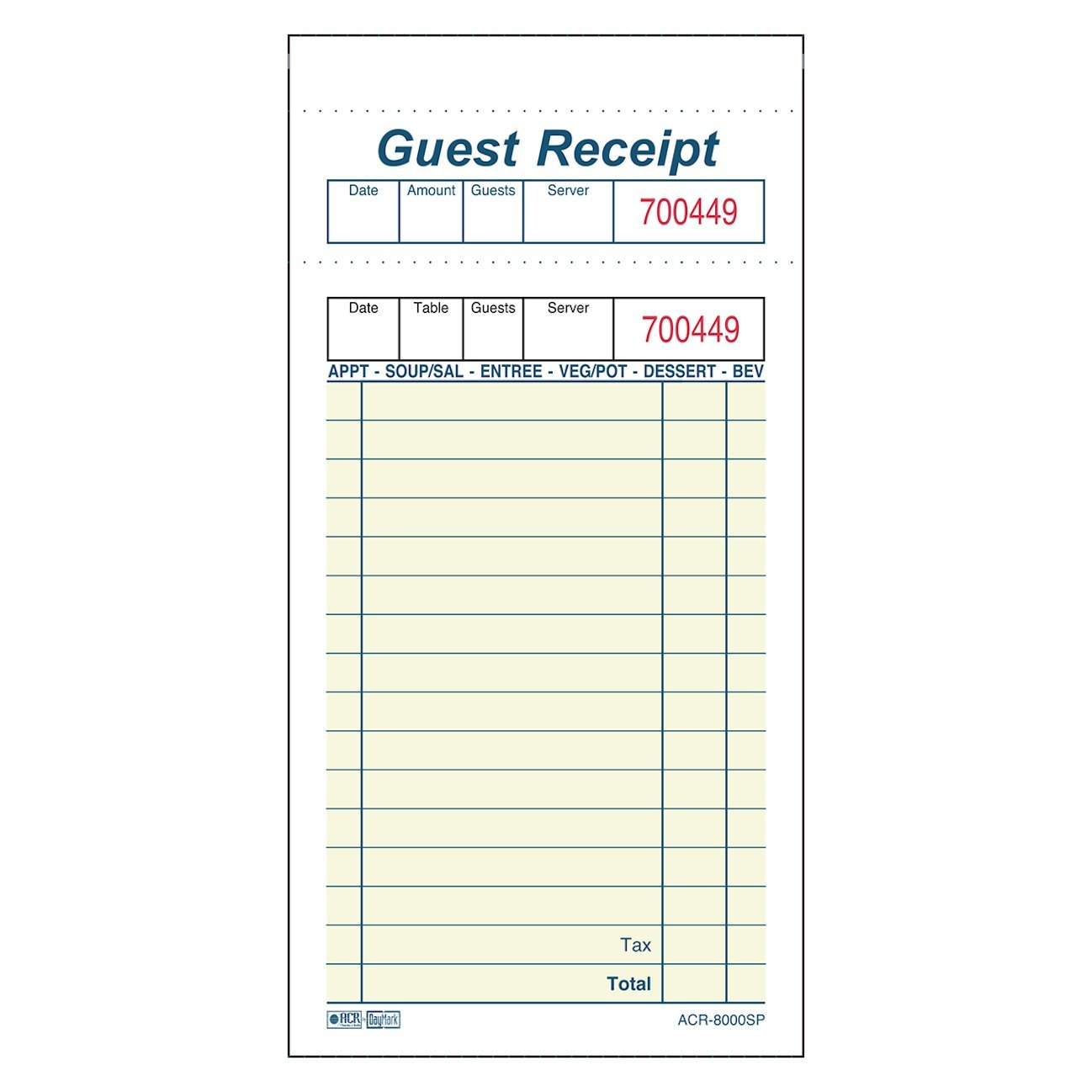 DayMark ACR-8000SP Guest Check, 2 Part, Yellow, 6-3/4 Length x 3-1/2 Width (Case of 10 Pads, 250 per Pack)