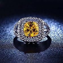 buy Superhai Luxury Square Diamond Engagement Ring Pierced Rectangular Inlay Womanyellow Zircon