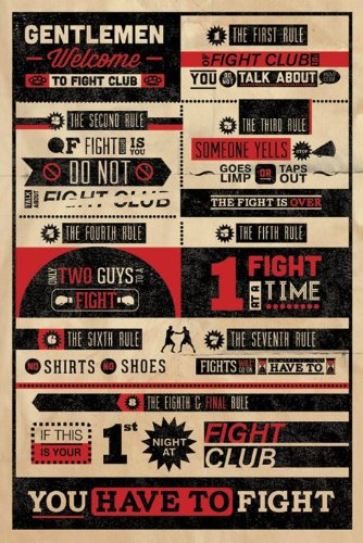 Fight Club Rules 24x36 Poster Movie Art Print (Movie Posters compare prices)