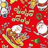 タカ印 クリスマス包装紙 10枚ロール ミュージックノエル赤 半才判 49-3528