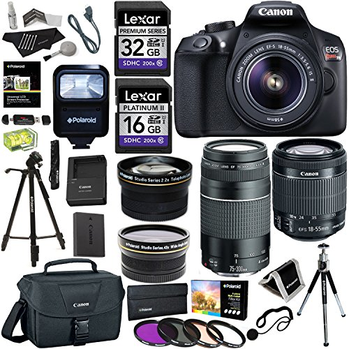 Find Discount Canon EOS Rebel T6 DSLR Camera Kit (New Model for T5), EFS 18-55mm, EF 75-300mm Zoom L...