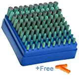 Polishing Accessories 100pcs Rubber Grinding Heads,3mm Shank Assorted Accessory, Mounted Point Wheel Head Kit for Dremel Polish Rotary Tools - Free Finger Cots(Green) (Color: Green(Browse pictures))