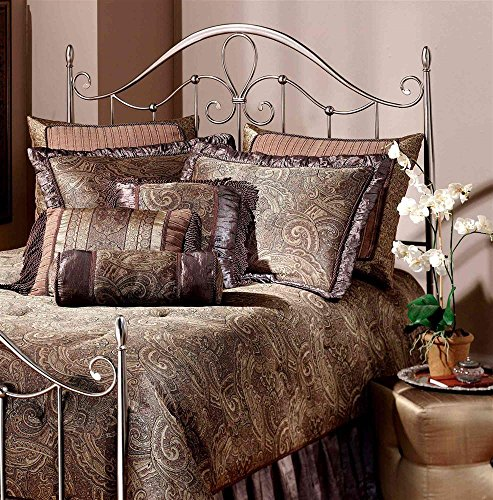 Metal Headboard With Tapered Posts In Antique Pewter Finish (Full/Queen) front-1061134