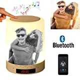 Custom Photo Bluetooth Speakers Touch Control Bedside Lamp Table Lamp Color LED Camping Party Night Light Music Player - Black and White Printing (Color: Black and White Printing, Tamaño: 3.5inch*3.5inch*4.7inch)