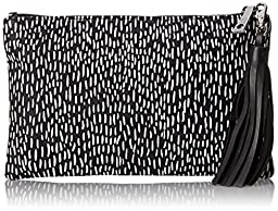 Lauren Merkin Small Dash Tassel Pouch Clutch, Black/White, One Size