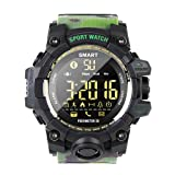 EX16 Camoflauge Military Style Sports Smart Bluetooth Watch with Activity Tracker Pedometer Steps Calory Counter Stopwatch 50M Waterproof 1 Year Long Battery Life Compare with iOS& Android (GR-Band) (Color: GR-Band)