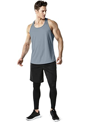 TSLA Mens 3 Pack Workout Muscle Tank Sleeveless Racer Y-Back Gym Training Cool Dry Top