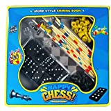 Kids Tradiotional Puzzle Games Chess Chequers Dominoes Multi Compendium Set