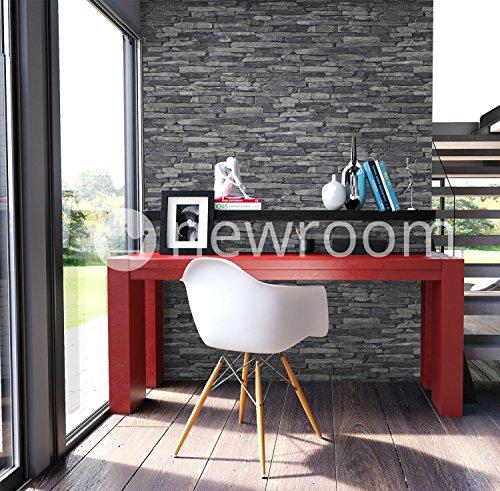 schöne wohnzimmer uhren:Preisvergleich – Steintapete Vlies Grau Schwarz