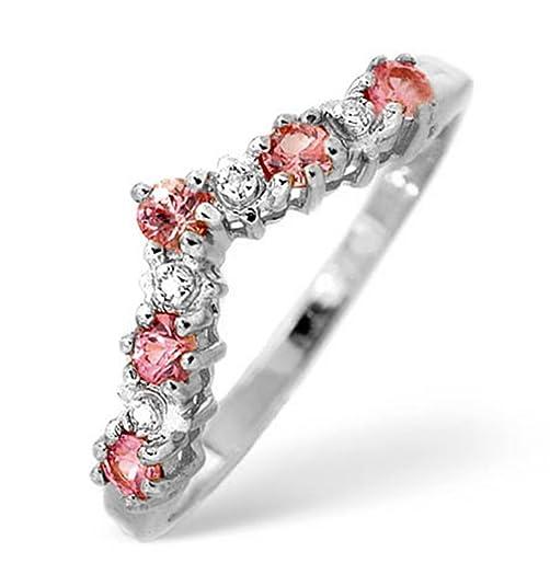 TheDiamondStore | Wishbone Ring - Pink Sapphire & Diamond - 9K White Gold