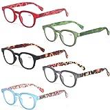 Reading Glasses Fashion Men and Women Readers Spring Hinge with Pattern Design Eyeglasses for Reading (5 Pack Mix Color, 2.0) (Color: 5 Pack Mix Color, Tamaño: Medium)