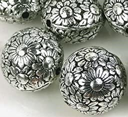 10 Large Antique Silver Metal Plated Acrylic Flower Flat Round Beads