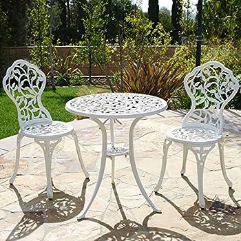 Belleze Outdoor Patio Furniture Leaf Design Bistro Set in Antique White