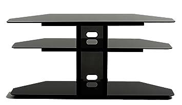 TransDeco Corner TV Stand with 2 AV Shelves for 32 to 55-Inch Plasma/LCD TV