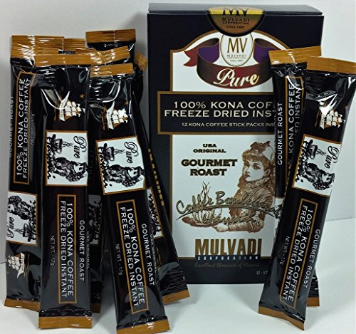 100% Kona Coffee Freeze Dried Instant (12 Individual 1.7g Stick Packs) (Instant Coffee Single Packs compare prices)