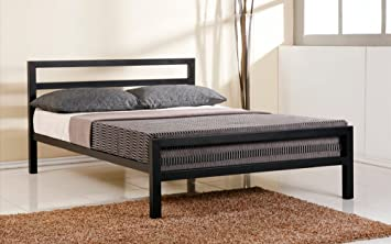 City Block 5ft King Size Black Modern Metal Bed Frame and Extreme 50 Memory Foam Mattress