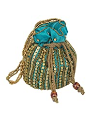 Beautiful Ladies Girls Women Traditional Potil Hand Bag Turquoise MPN-potli_7