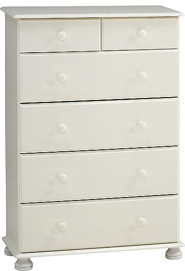 Commode avec 6 tiroirs en MDF, coloris blanc - Dim : 122 x 82 x 46 cm -PEGANE-
