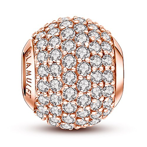 Glamulet Jewelry Women's 925 Sterling Silver Birthstone Paved Crystal Bead Charm Fits Pandora Bracelet Rose Gold (Gold Charm Brackets compare prices)