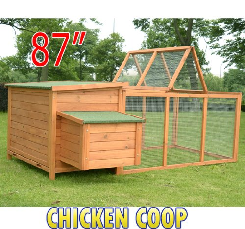 Wood Chicken Coop Rabbit Hen House Nest Huge Run Backyard Poultry Cage